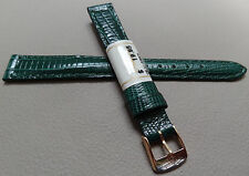 New ZRC Made in France Green Teju Grain 12mm Watch Band Gold Tone Buckle $19.95