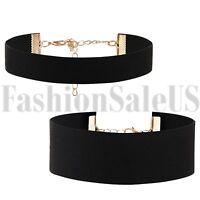 2pcs Gothic Black Wide Retro Velvet Choker Collar Bib Necklace Charm Pendant New