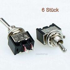 6 Miniatur Kippschalter einpolig Ein / Aus 230V~ 3A  Ausschalter