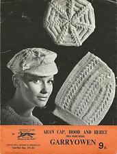 Vintage tapa de tejer patrón Aran, Capucha Y Boina