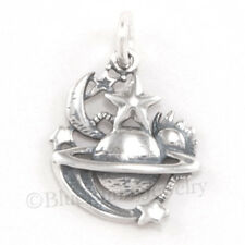 SUN MOON SHOOTING STAR PLANET Universe Sterling Silver Pendant Charm Celestial