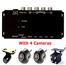 Car 4-Way Image Split-Screen Control Box With Front/Left/Right/Rear View Camera
