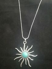 Turquoise Sun Necklace Pendant on Sterling Silver Chain Sun Ray Sunburst