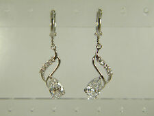 Drop Huggie Wh Gold Overlay Earrings: Shinning White Cubic Zirconia Pear&Round