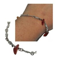Bracelet en argent massif 925 maille dauphin et morceau Ambre 18cm bijou