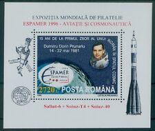 Rumänien 1996 Mi.Block 299 ** Espamer '96 Sevilla,Flugwesen,Weltraum,Ausstellung