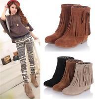 Womens Ladies Faux Suede Fringe Tassel Ankle Boots Shoes Plus Size 3 Colors YG06