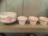 Vintage Studio Pottery - Stoneware Pot Decorated Pink Flowers & 3 Flowers Pots