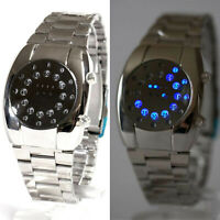 LED Armbanduhr Herren Edelstahl Uhr Chrom Armband Beleuchtete Herrenuhr Quarzuhr