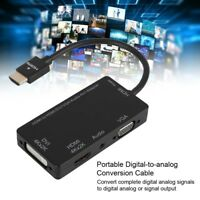 4 in 1 HDMI to HDMI VGA DVI Audio Adapter Hub Converter For Tablet Laptop PC TV