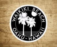 "Waikiki Beach Hawaii Sticker Decal Beach Ocean Surfing Vinyl 3"" x 3"" Surfer Oahu"