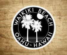 "Waikiki Beach Hawaii Sticker Decal Beach Ocean Surfing Vinyl 3"" x 3"" Surfer Oahu"