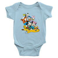 Mickey Minnie Goofy Pluto Donald Infant Baby Rib Bodysuit Romper Jumpsuit Disney