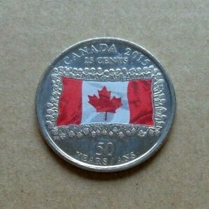 CANADA coin 2015 25c Flag Colored Coin Commemorating 50 Yrs Of Canadian Flag