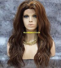 Long Layered Beach Wavy Brown Auburn Mix Full Lace Front Wig Heat Ok Hair Piece