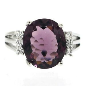 SheCrown Pretty Purple Amethyst White CZ For Ladies Daily Wear Silver Ring 7.0