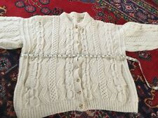 Aran hand made wool cardigan, chest approx 48 inches, pockets. Grunge/goth
