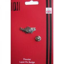 De Plata Cod Peces Pesca Diseño Peltre Pin De Solapa Insignia hecha a mano en Inglaterra Nuevo