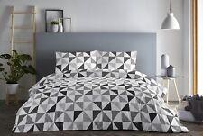Fusion Geo Geometric Easy Care Duvet Cover Bedding Set Grey