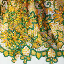 Orange Floral Mesh Cord Lace Fabric 4 Wedding Party Dress Bead Embroidery Fabric