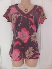 Pretty Monsoon size 10 brown (or dark grey?) silk top with floral pattern, pinks