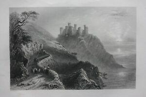 HARLECH CASTLE, WALES, antique Victorian print, Finden, c.1841