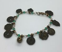 """Vintage Bracelet 8"""" Bell Charms Chinese Coin Letter"""
