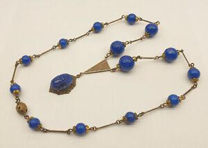 Antique Czech Art Deco Max Neiger Egyptian Revival Peking Glass Scarab Necklace
