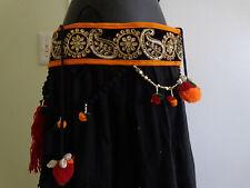 Tribal paisley zardozi textile Belly Dance tassel Hip scarf waist India belt ATS