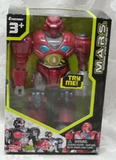 "M.A.R.S. Motorized Attack Robo Squad RED REVO 7"" WALKING ROBOT HAP-P-KID Lights"