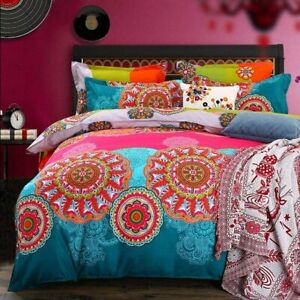 135x200 Indishes Rosa Design Mandala Bohemian Style Bettbezug Bettwäsche Set