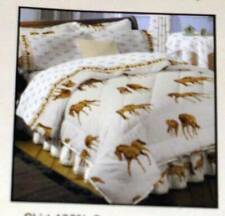 Brown Horses & Horse Shoes on Ecru Bed Skirt Full Size Hit The Hay Nwot