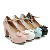Ladies Mary Jane Lolita Bow Knot Pumps Block Heels Chain Buckle Shoes UK SIZE