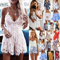UK Womens Holiday Mini Playsuit Ladies Jumpsuit Summer Beach Dress Size 6 - 16