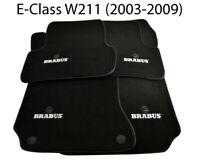 Floor Mats For Mercedes Benz E Class W211 BRABUS Emblem Black Leather Rounds NEW
