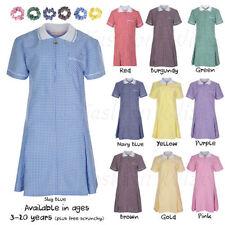 Gingham Summer Short Sleeve Dresses (2-16 Years) for Girls