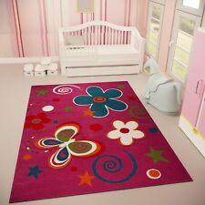 Kinder Teppich Lila Schmetterling Blumen