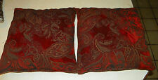 Pair of Burgundy Taupe Flower Print Throw Pillows  18 x 18