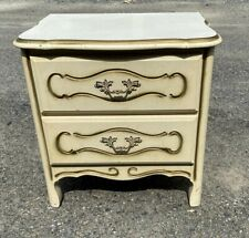 Nightstand End Table Cream Gold French Provincial Style 2 Drawer