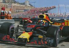 Art Card 2018 Monaco GP winner #3 Daniel Ricciardo (AUS) by Toon Nagtegaal (OE)