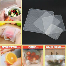 Hot 4 Pcs Reusable Silicone Food Bowl Covers Wrap Keep Food Stretch and Fresh BE