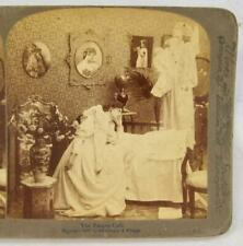 Stereoview Underwood The Empty Crib Angel Holding Dead Baby Mother Grieving (O)