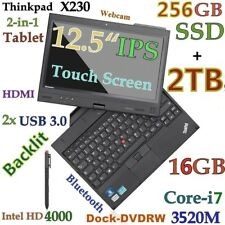 ThinkPad X230 12.5 IPS Touch TABLET i7-3520M (256GB-SSD + 2TB 16GB) Backlit Dock