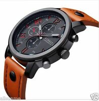 MEN'S FASHION LEATHER STAINLESS STEEL SPORT WATERPROOF ANALOG QUARTZ WRIST WATCH