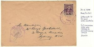 AUSTRALIA 1944 NAVY P.O. #1 CENSORED RATE 1d. TO SIDNEY WITH PASSED BY CENSOR &