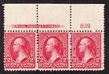 US 279Bf 2c Washington Top Plate #839 Strip of 3 F-VF OG NH SCV $95