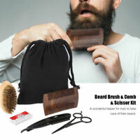 Beard Care Kit Beard Comb Brush Scissors Storage Bag Mustache Hair Cleaning Tool