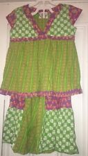 Flit & Flitter 2 Pc Pants Outfit Set Green Pink Floral Size 5