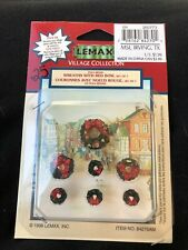 Rare - Retired Lemax Christmas Village Set Of 7 Wreaths - 1998 - New In Package