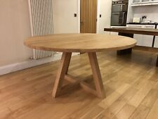 1000mm - SOLID OAK ROUND CROSS LEG PEDESTAL TABLE - HAND CRAFTED - MADE TO ORDER
